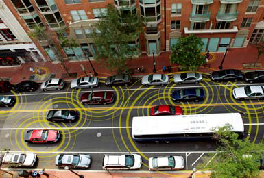 Conceptual image of vehicle-to-vehicle and vehicle-to-infrastructure communications (USDOT)